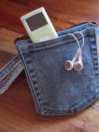 recycled jeans ipod holder