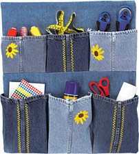 recycled blue jean organizer