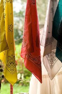 Colorful hanging bandannas
