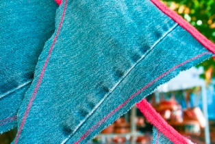 Author's photograph of a recycled denim bunting