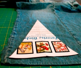 Author's photograph of the pennant template on the jeans