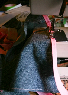 Author's photograph of sewing the bunting