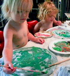 Author's photo of her daughters painting records