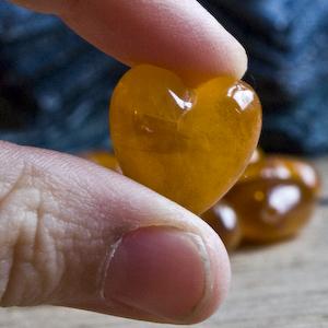 vintage amber heart bead