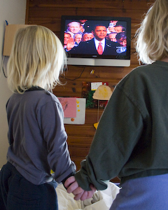 My girls watching the inauguration of President Barack Obama