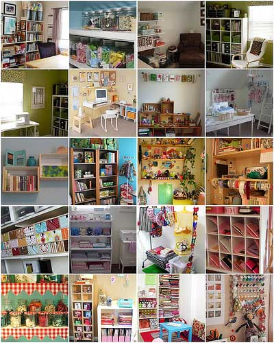 a collage of craft rooms