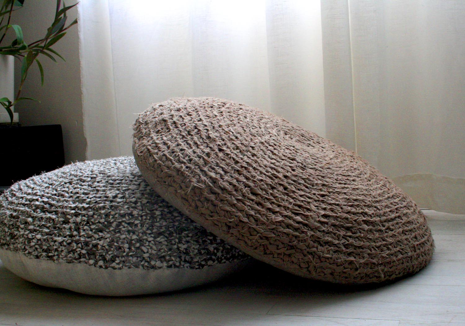 diy floor pillows. Old Bed Linens Become Rag Floor Pillows  Crafting A Green World