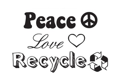 Peace Love Recycle Stamp