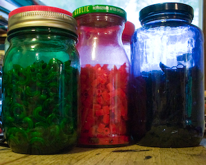Dyed Pasta in Jars