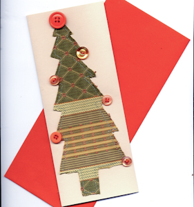 Tutorial make a greeting card with scrap fabric applique and christmas tree card with scrap fabric m4hsunfo