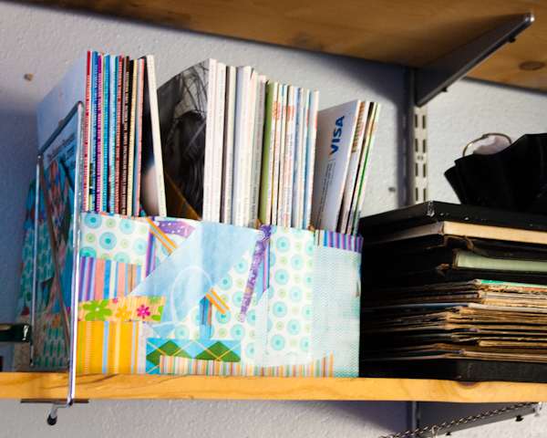magazine organizer made from cereal boxes and scrapbook paper