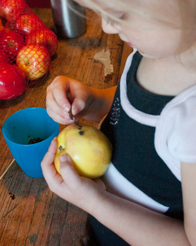 Poke cloves straight into the apple, or use a bamboo skewer to prepare holes.