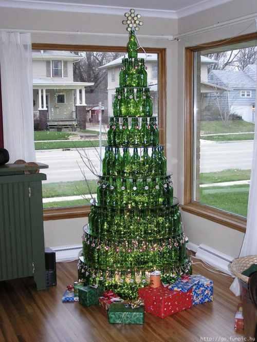 bottle christmas tree - How To Make A Wine Bottle Christmas Tree