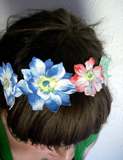 blue flower headband-recycled fabric
