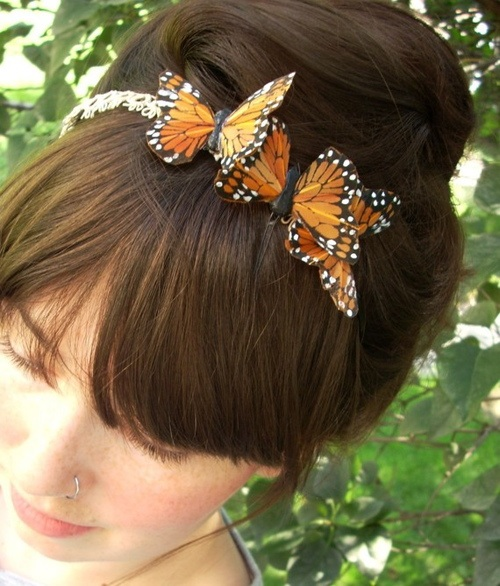 butterfly headband recycled fabric