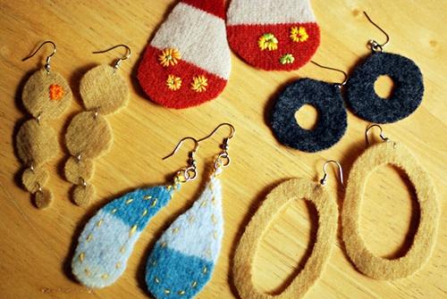 felted wool scraps jewlery