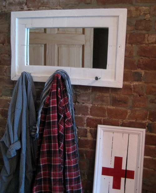recycled wood mirror and coat hanger