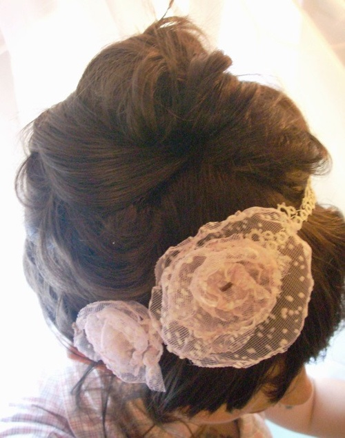 pink lace headband recycled fabric