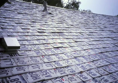 License plate tiles on the roof.