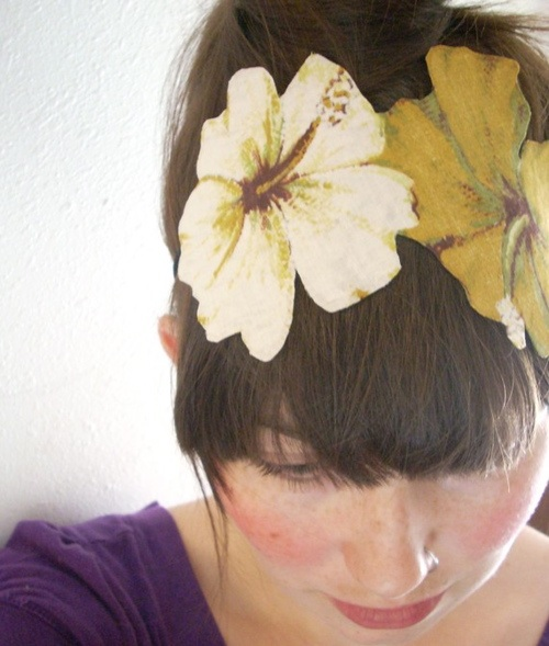 yellow flower headband recycled fabric