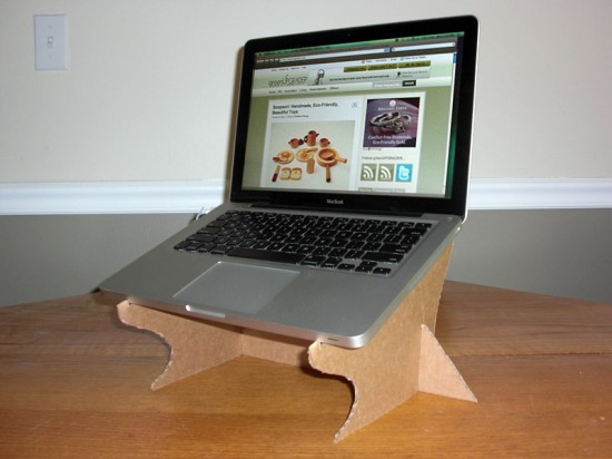 Reclaimed cardboard laptop stand