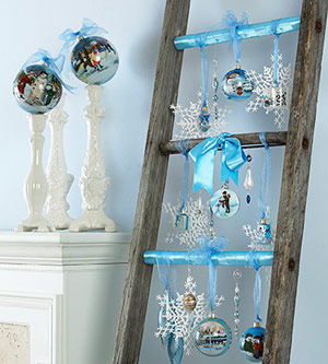 ladder filled with ornaments