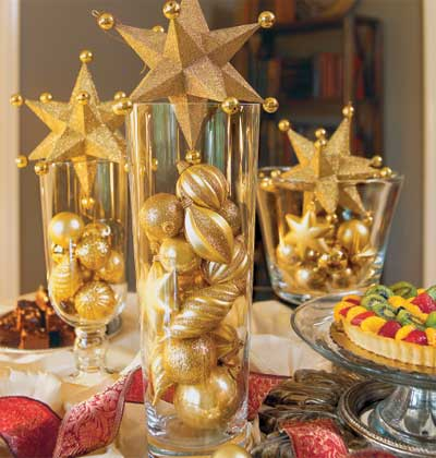 fill vases with holiday ornaments