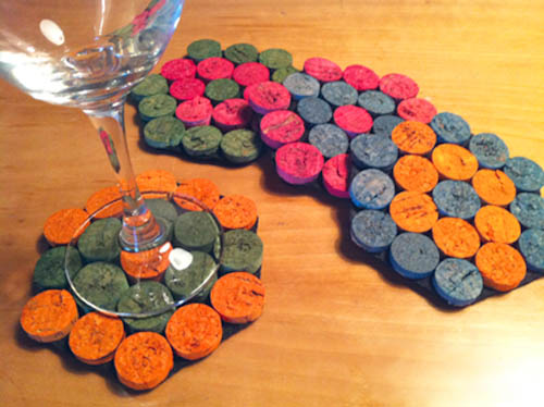 Upcycled wine cork coasters.