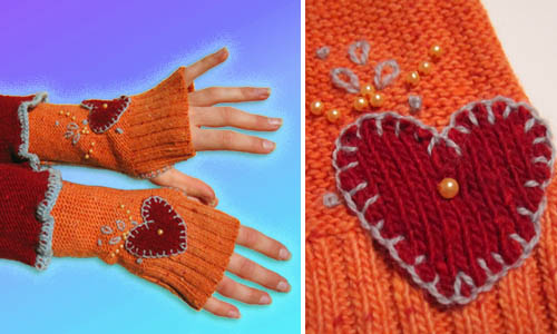 A sweater upcycled into fingerless gloves.