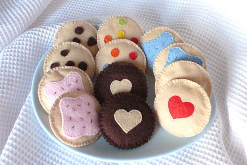 plate of felt cookies