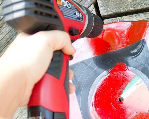 drill a hole in the record album