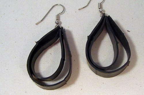 bicycle tube earrings