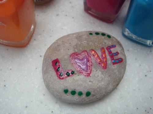 nail polished rock