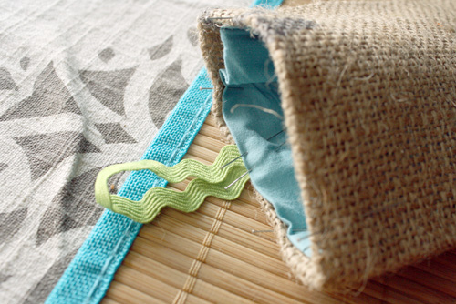 burlap sunglasses case pinned