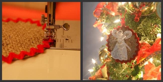 Angel Burlap Ornament