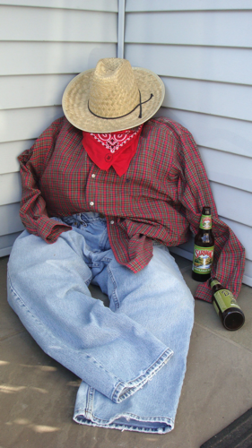 diy drunken farmer halloween decoration