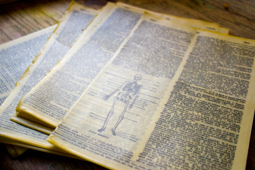 vintage dictionary pages coated in beeswax