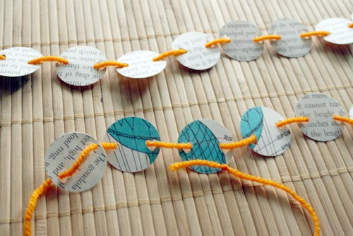 recycled book page bunting