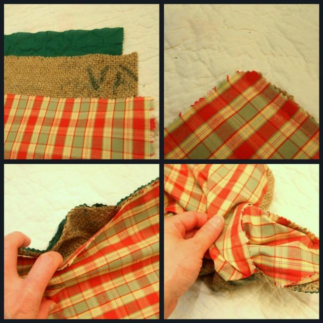 sewing burlap tray