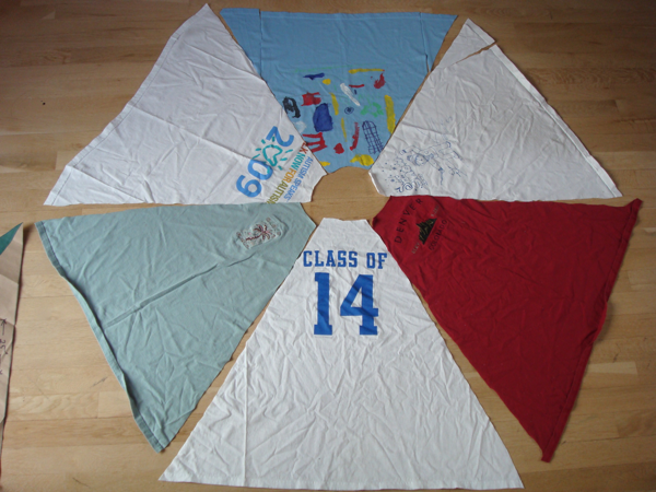 six panels of shirts