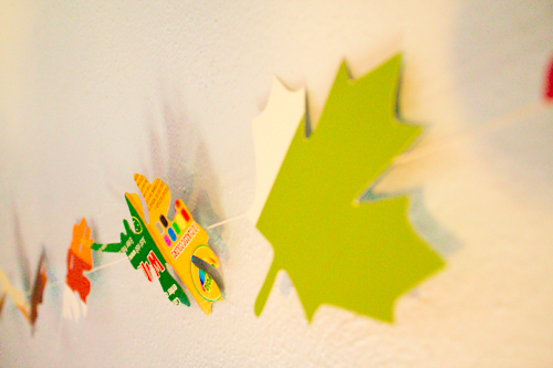 upcycled cardboard leaf garland