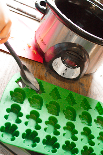 pour beeswax into small silicon molds