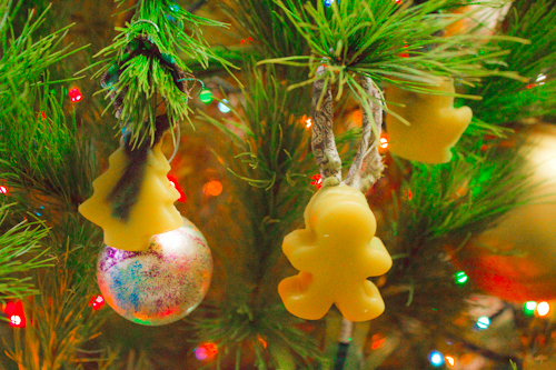beeswax and fabric scrap Christmas tree ornaments