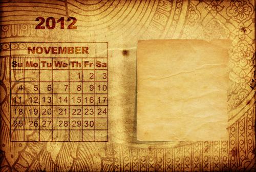 November calendar page via Shutterstock