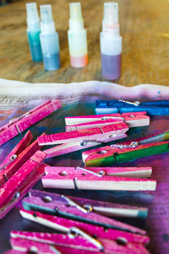 spray the clothespins with liquid watercolors