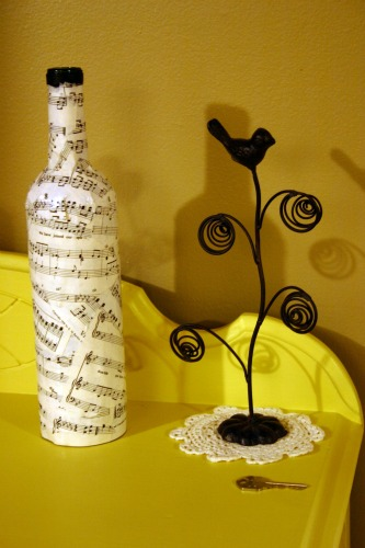 sheet music decoupaged wine bottle
