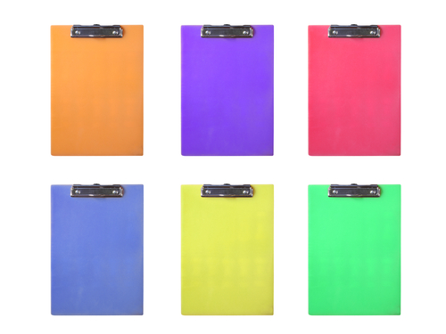 colorful clipboards via Shutterstock