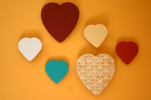 Valentine's Chocolate Heart Boxes into Wall Art