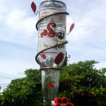 DIY hummingbird feeder from a glass bottle