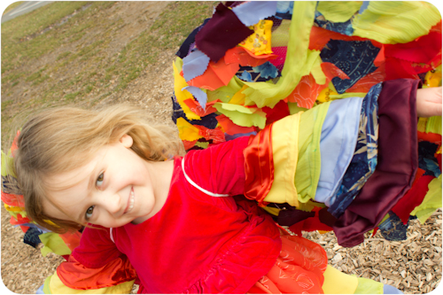 rainbow fairy dress with wings sewn from repurposed prom dresses